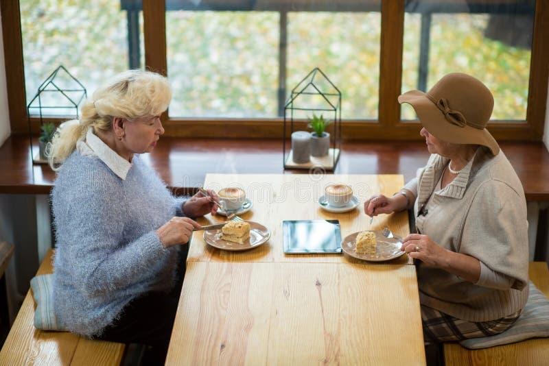 Bejaarden die cake eten royalty-vrije stock foto