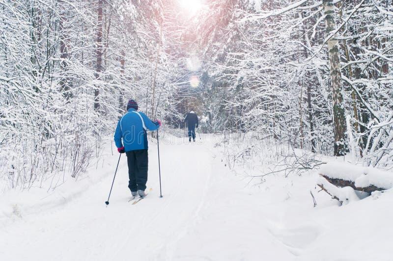 Bejaarden die in mooi de winterbos ski?en stock fotografie