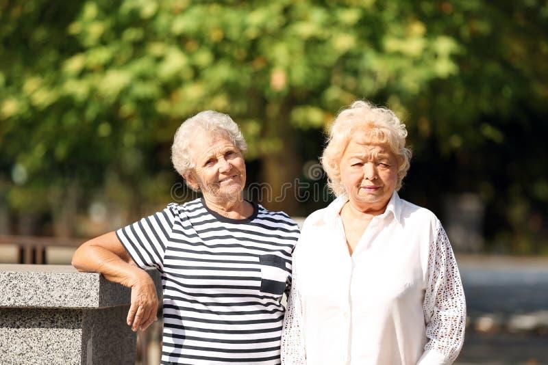 Bejaarden die op bank rusten stock afbeelding