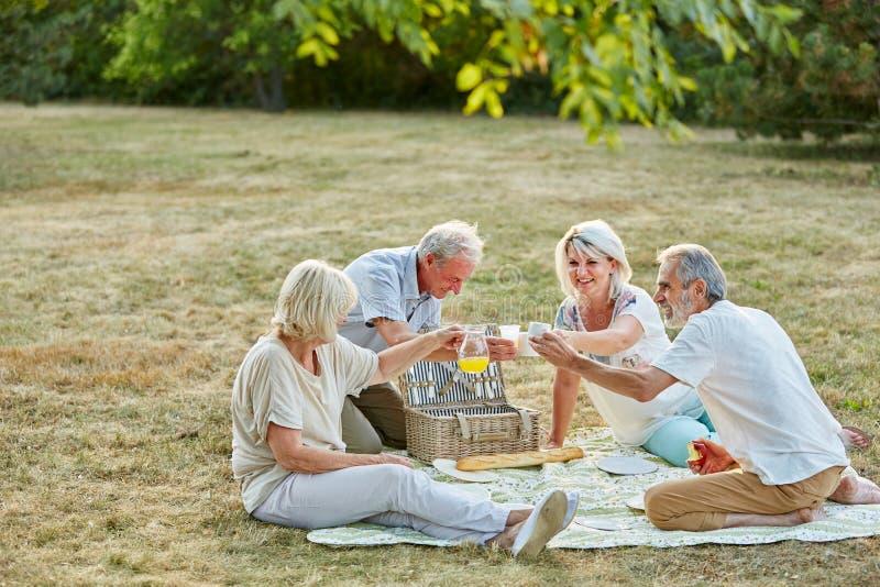 Bejaarden die pret hebben bij een picknick stock afbeeldingen