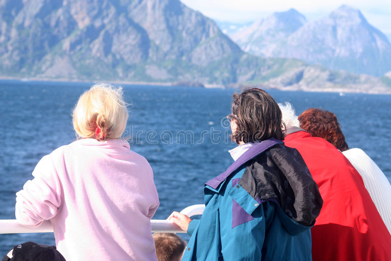 Bejaarden op de veerboot royalty-vrije stock foto's