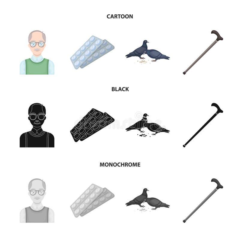 Bejaarden, tabletten, duiven, het lopen riet E royalty-vrije illustratie