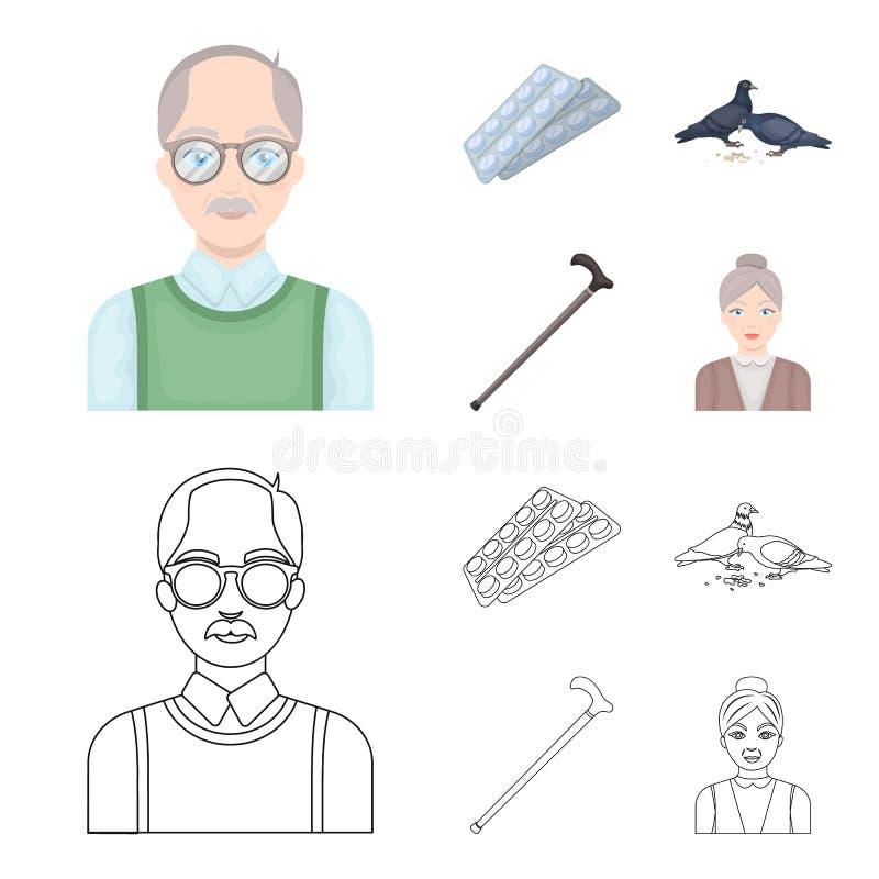 Bejaarden, tabletten, duiven, het lopen riet Pictogrammen van de oude dag de vastgestelde inzameling in beeldverhaal, vector het  royalty-vrije illustratie