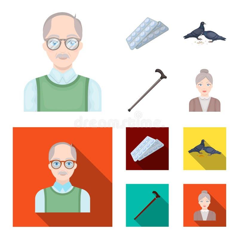 Bejaarden, tabletten, duiven, het lopen riet Pictogrammen van de oude dag de vastgestelde inzameling in beeldverhaal, de vlakke v stock illustratie