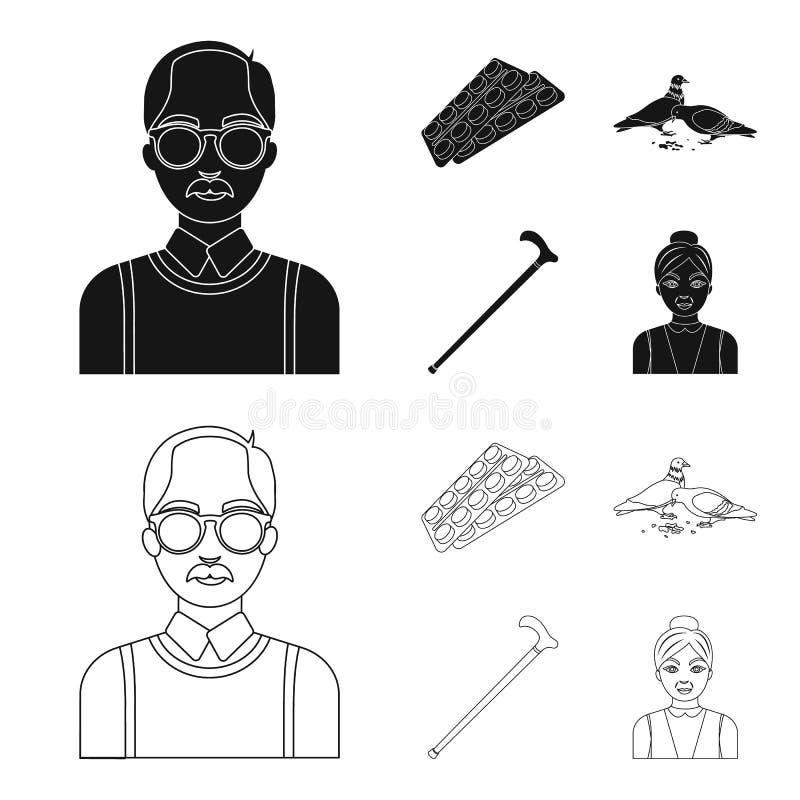 Bejaarden, tabletten, duiven, het lopen riet Pictogrammen van de oude dag de vastgestelde inzameling in zwarte, vector het symboo royalty-vrije illustratie