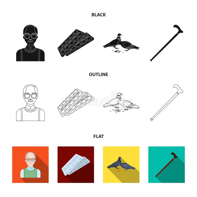 Bejaarden, tabletten, duiven, het lopen riet Pictogrammen van de oude dag de vastgestelde inzameling in zwarte, vlak, vector het  stock illustratie