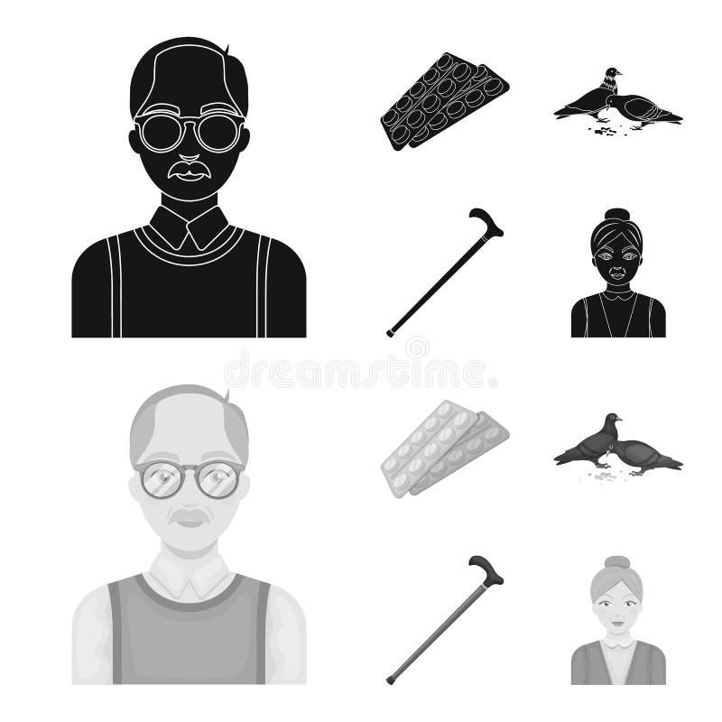 Bejaarden, tabletten, duiven, het lopen riet Pictogrammen van de oude dag de vastgestelde inzameling in de zwarte, zwart-wit voor royalty-vrije illustratie