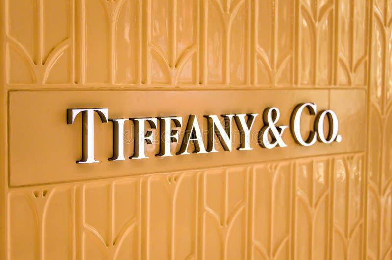 Bejing Κίνα 23 02 2019 λογότυπο κοβαλτίου της Tiffany στο κατάστημα του κοβαλτίου της Tiffany ένας αμερικανικός λιανοπωλητής κοσμ στοκ εικόνες με δικαίωμα ελεύθερης χρήσης