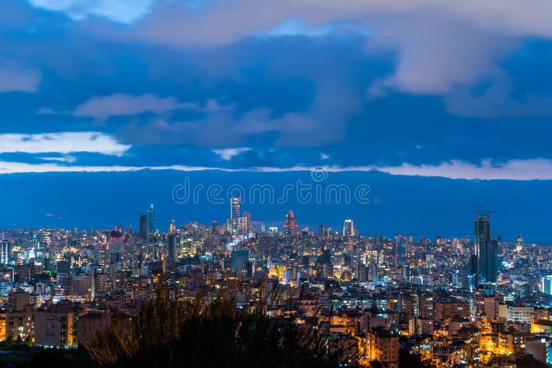Bejrut z pięknym zmierzchem obrazy royalty free