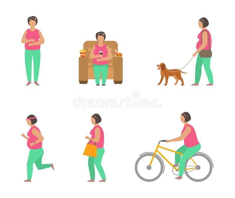 Bekämpa fetma till och med sportar Fet kvinna som går hunden, cykla som joggar stock illustrationer