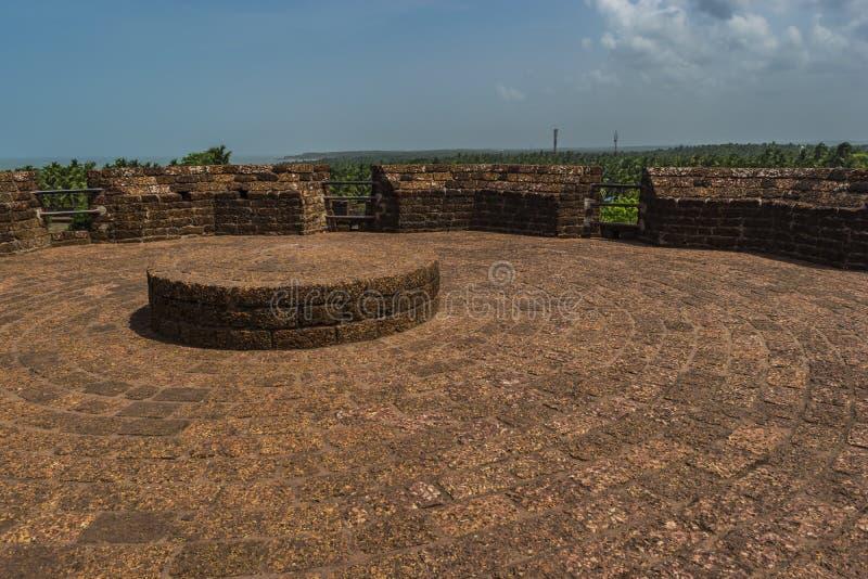 Bekal fortu dach z kamiennymi teksturami widocznymi - obrazy stock