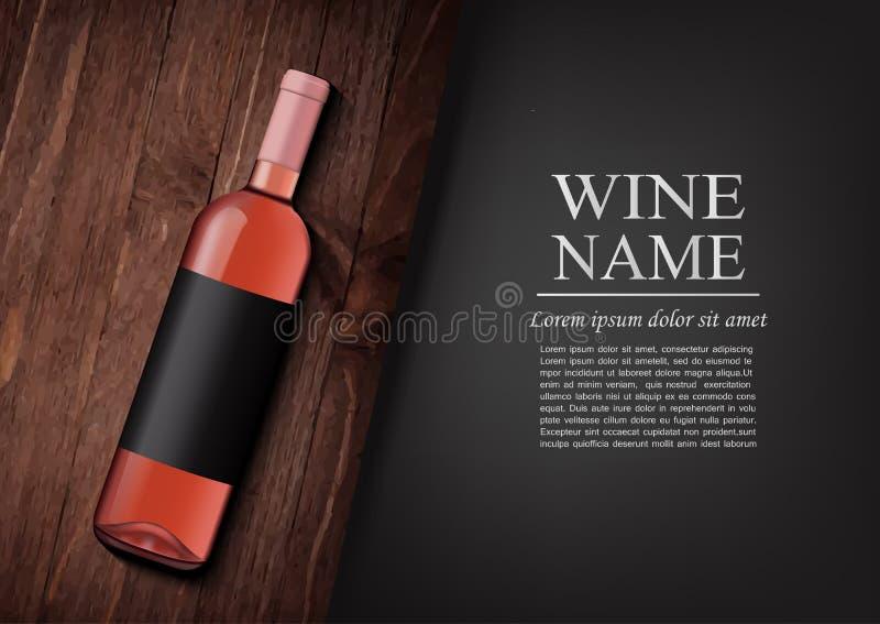 Bekanntmachen der Fahne Eine realistische Flasche Roséwein mit schwarzem Aufkleber in der photorealistic Art auf hölzernem dunkle vektor abbildung