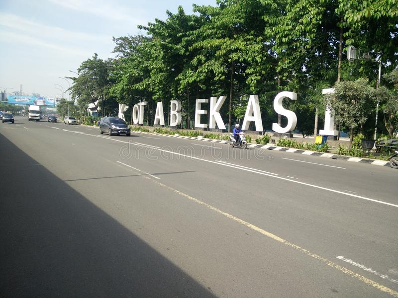 bekasi城市勿加泗西部Java印度尼西亚2019年4月9日地标ahmad yani街道的 库存照片