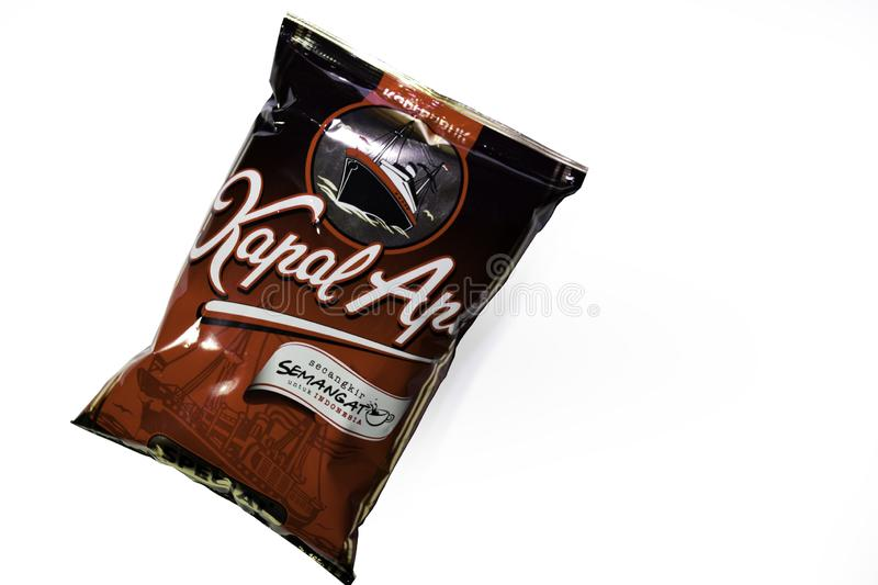 Kopi Kapal Api Coffee Pack, an Indonesian Famous Brand of black cofee Isolated on White Background stock photo