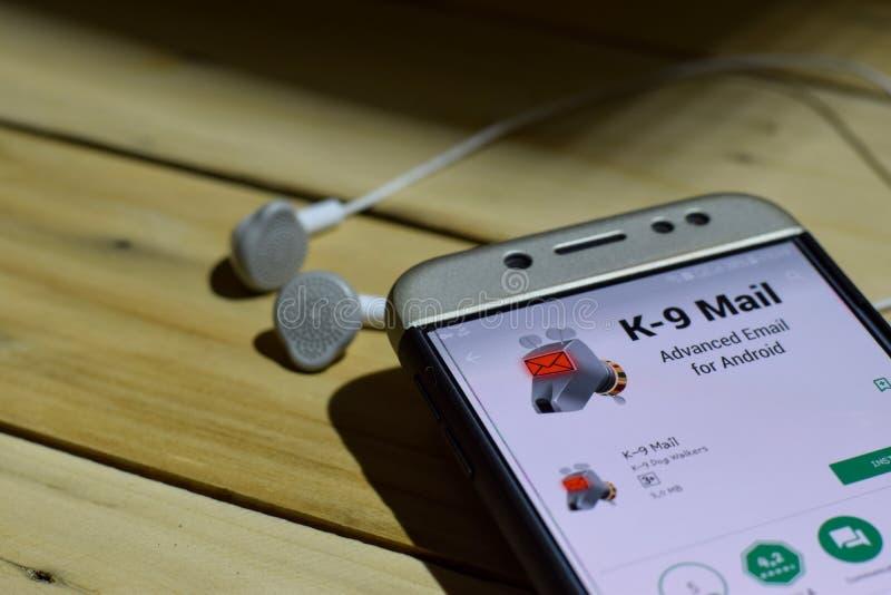 BEKASI, JAVA OCCIDENTAL, INDONÉSIE 4 JUILLET 2018 : Application de réalisateur du courrier K-9 sur l'écran de Smartphone Le courr image libre de droits
