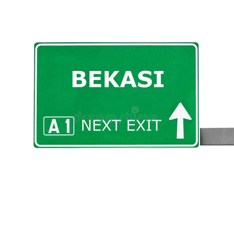 BEKASI-verkeersteken die op wit worden geïsoleerd stock fotografie