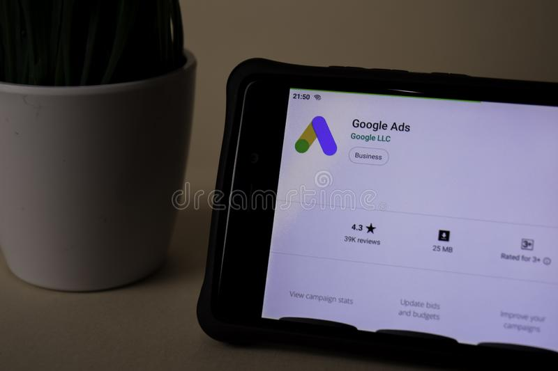 Google Ads dev application on Smartphone screen. Google Ads is a freeware web. BEKASI, WEST JAVA, INDONESIA. APRIL 5, 2019 : Google Ads dev application on stock image