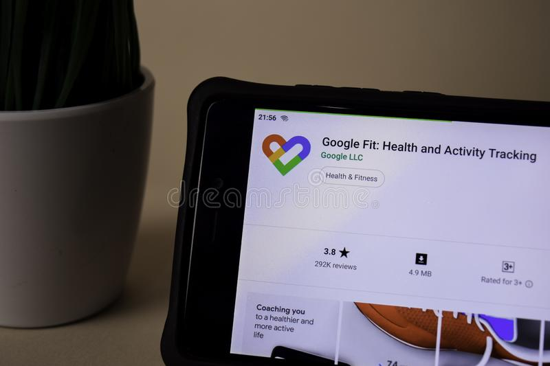 Google Fit: Health and Activity Tracking dev application on Smartphone screen. BEKASI, WEST JAVA, INDONESIA. APRIL 5, 2019 : Google Fit: Health and Activity stock image