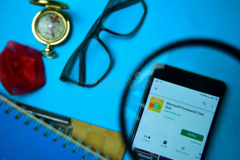 Microsoft Powerpoint Test Quiz dev app with magnifying on Smartphone screen. BEKASI, WEST JAVA, INDONESIA. APRIL 24, 2019 : Microsoft Powerpoint Test Quiz dev stock image