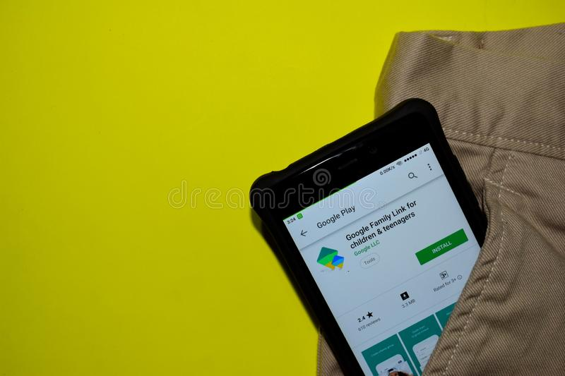 Google Family Link for children & teenagers dev application on Smartphone screen. stock image