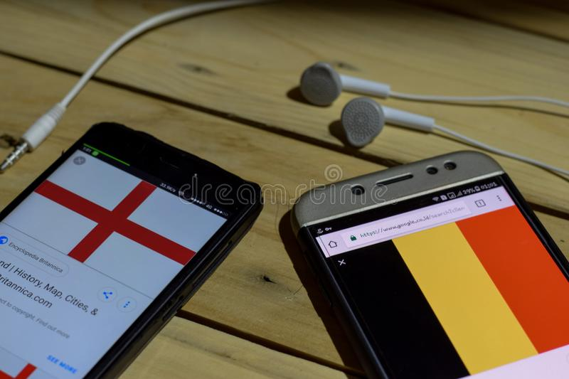 England Vs Belgium on Smartphone screen. royalty free stock images