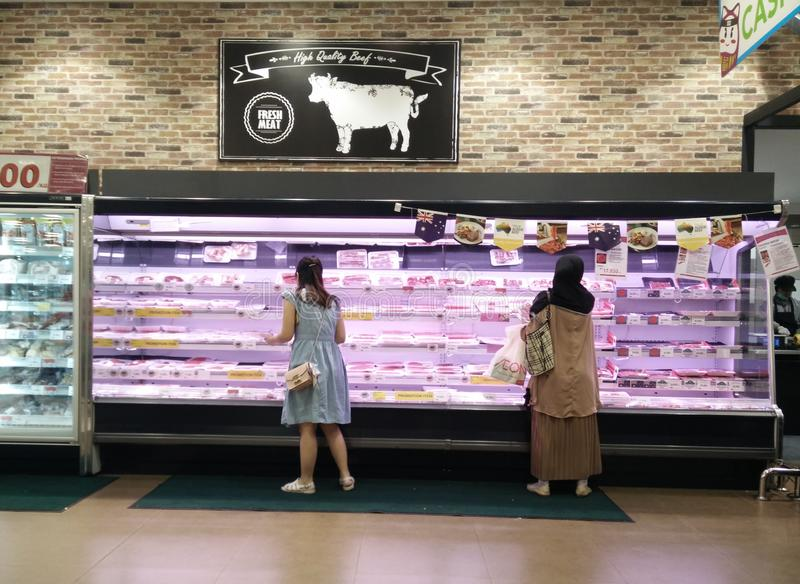 Bekasi, West Java/Indonesia March 10 2019 : Fresh Meat at supermarket stock photography