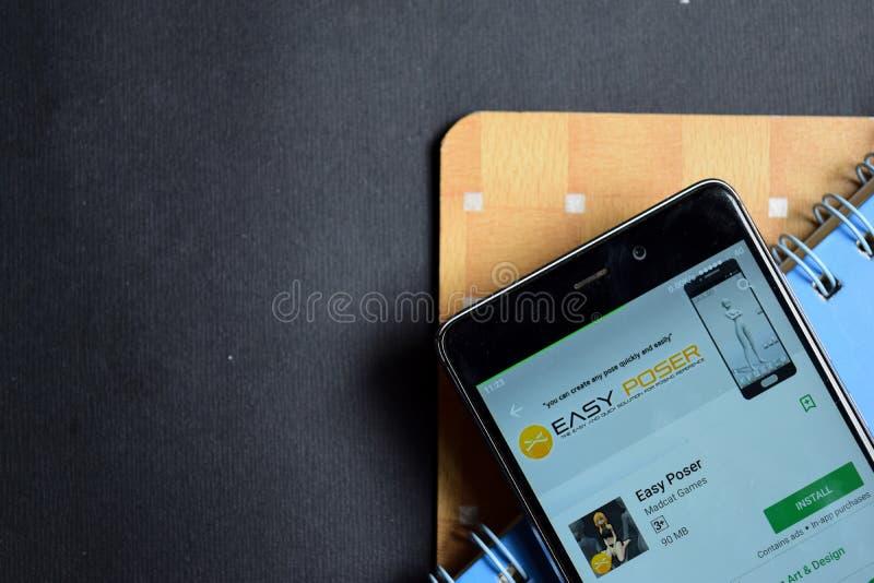 Easy Poser dev app on Smartphone screen. BEKASI, WEST JAVA, INDONESIA. SEPTEMBER 23, 2018 : Easy Poser dev app on Smartphone screen. Easy Poser is a freeware stock images