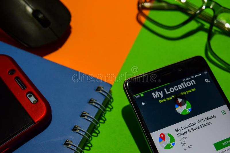 My Location: GPS Maps, Share & Save Places dev app on Smartphone screen. stock image