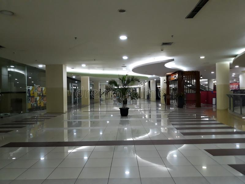 No people around when visiting a shopping center. BEKASI, WEST JAVA, INDONESIA. SEPTEMBER 18, 2018 : no people around when visiting a shopping center stock images