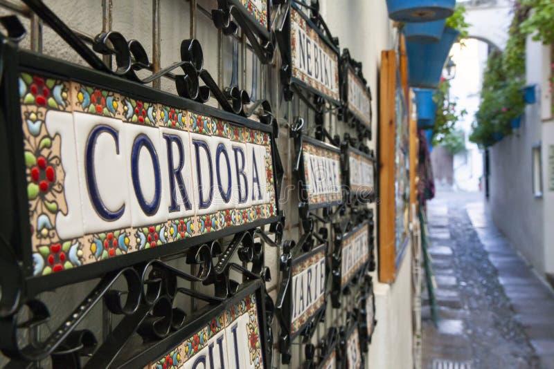 Bekende smalle straat in Cordoba, genaamd Las flores met kleurrijke potten op zijn muren stock foto