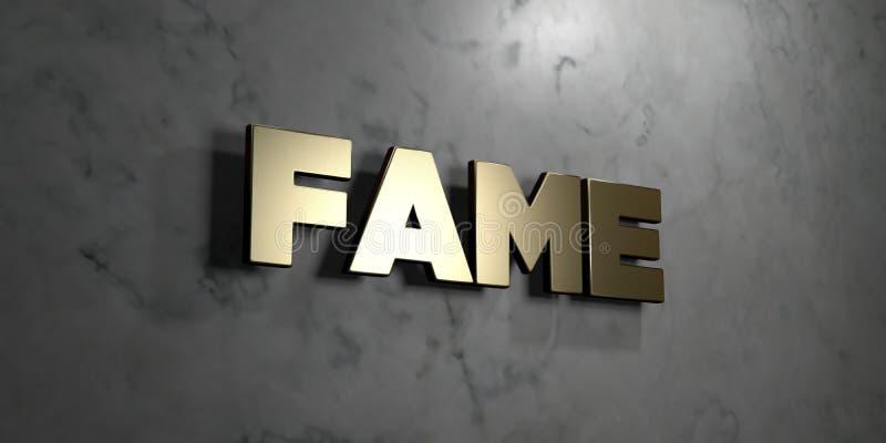 Bekendheid - Gouden teken opgezet op glanzende marmeren muur - 3D teruggegeven royalty vrije voorraadillustratie royalty-vrije illustratie