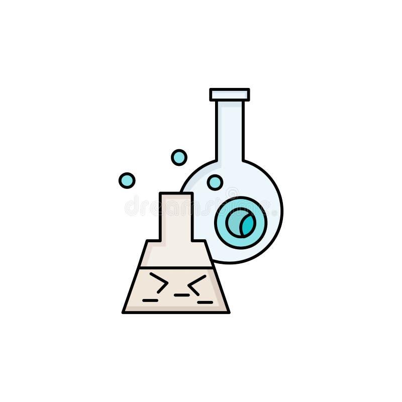 beker, laboratorium, test, buis, de wetenschappelijke Vlakke Vector van het Kleurenpictogram royalty-vrije illustratie