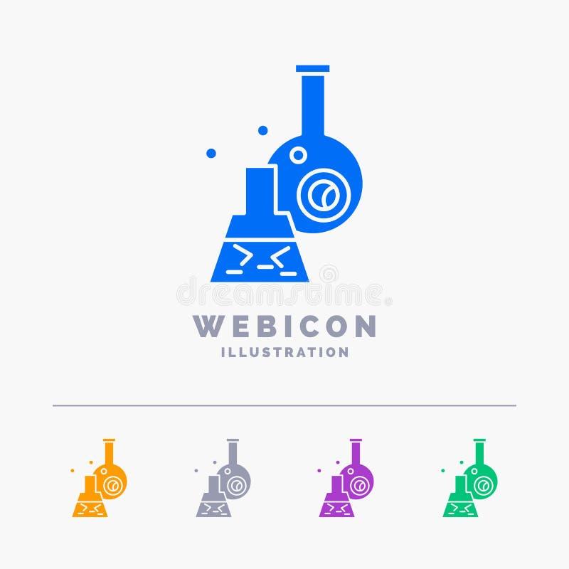 beker, laboratorium, test, buis, het wetenschappelijke Malplaatje van het het Webpictogram van 5 die Kleurenglyph op wit wordt ge vector illustratie