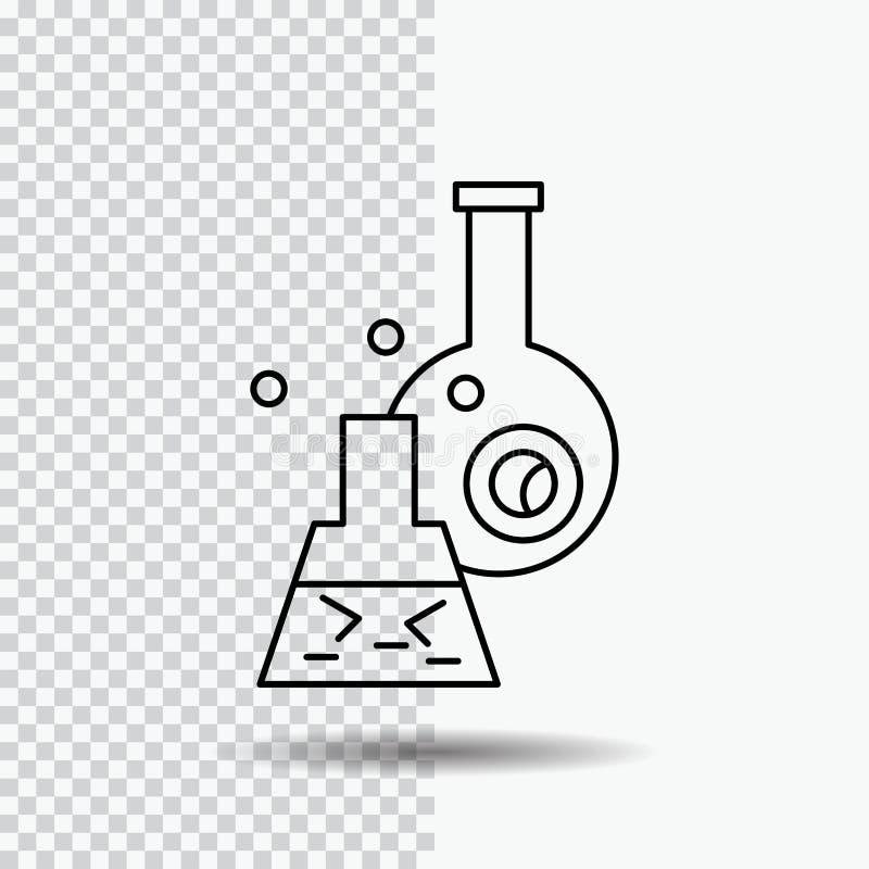 beker, laboratorium, test, buis, wetenschappelijk Lijnpictogram op Transparante Achtergrond Zwarte pictogram vectorillustratie stock illustratie