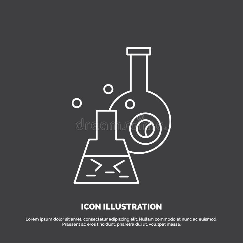 beker, laboratorium, test, buis, wetenschappelijk Pictogram Lijn vectorsymbool voor UI en UX, website of mobiele toepassing royalty-vrije illustratie