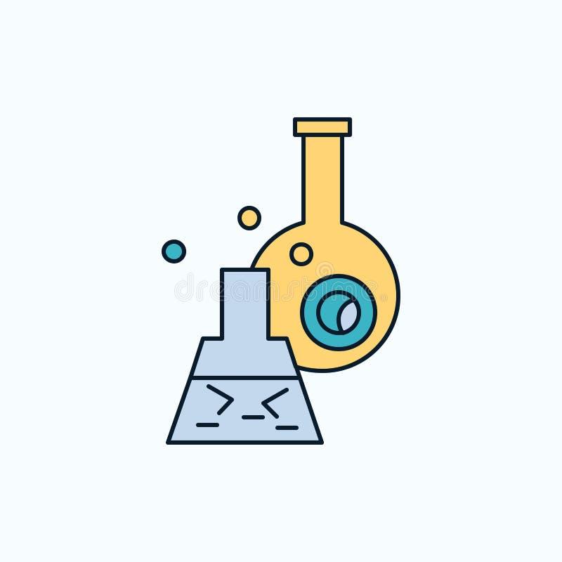 beker, laboratorium, test, buis, wetenschappelijk Vlak Pictogram groene en Gele teken en symbolen voor website en Mobiele appliat stock illustratie