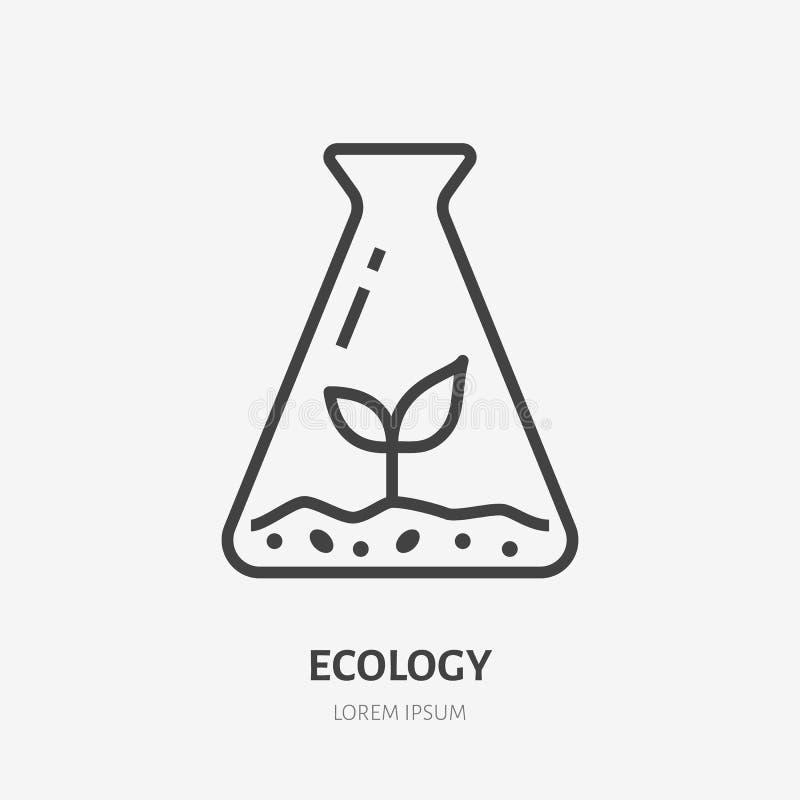Beker met vlak de lijnpictogram van de installatiespruit Vector dun teken van milieubescherming, het embleem van het ecologieonde royalty-vrije illustratie