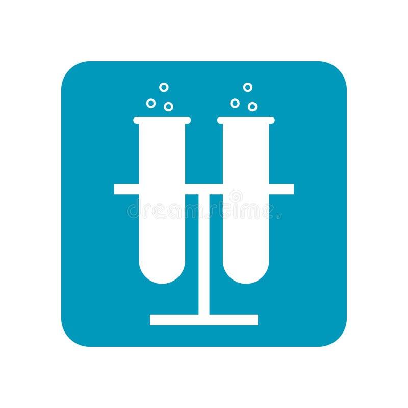 Beker, reageerbuis voor chemisch experiment Medische apparatuur Vlak illustratie, pictogram of voorwerp stock illustratie