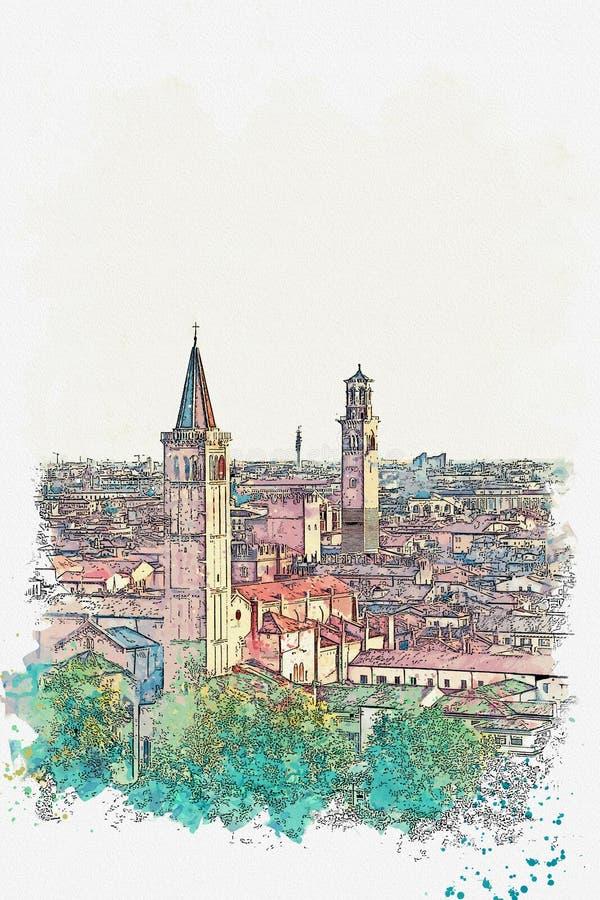Bekijk de architectuur in Verona royalty-vrije stock afbeelding