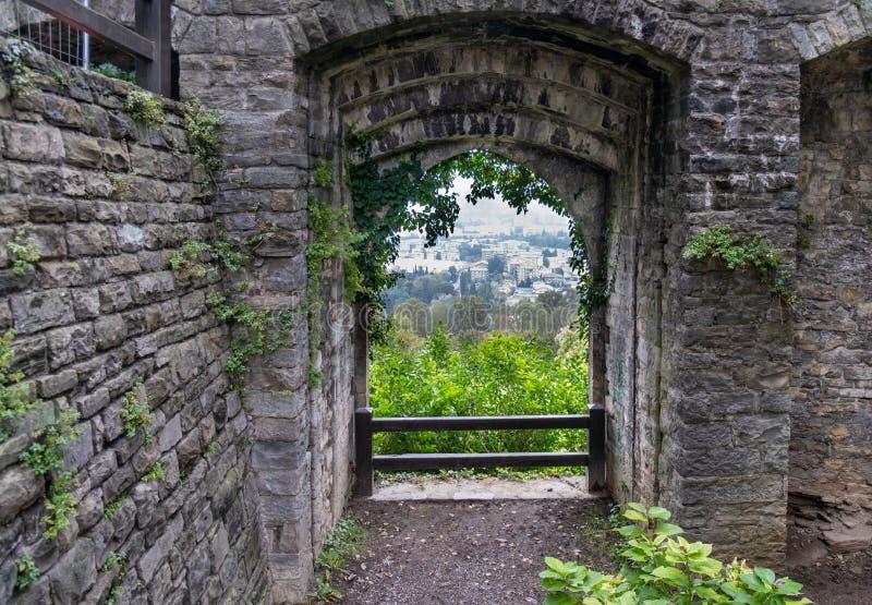 Bekijk de Bergamo van de Fort van Bergamo Rocca di Bergamo The Rocca castle Italië royalty-vrije stock fotografie