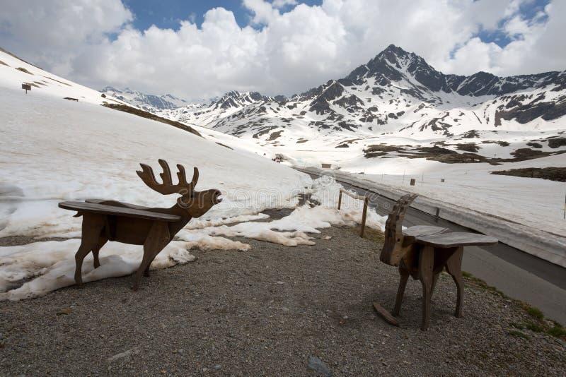 Bekijk de Gavia-pas, een alpenpas van de Alpen in Zuid-Rhaetië, die de administratieve grens markeert tussen de provincies van stock foto's