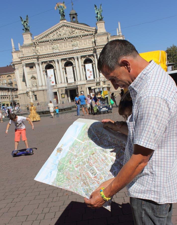 Bekijk de kaart van Lviv-aantrekkelijkheden royalty-vrije stock afbeelding