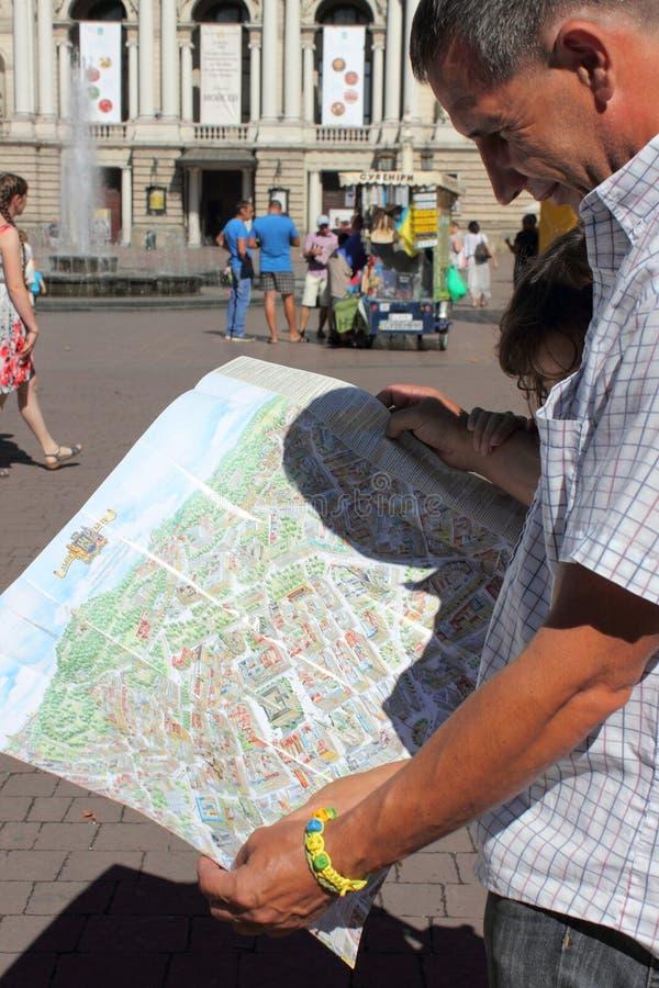Bekijk de kaart van Lviv-aantrekkelijkheden stock foto's