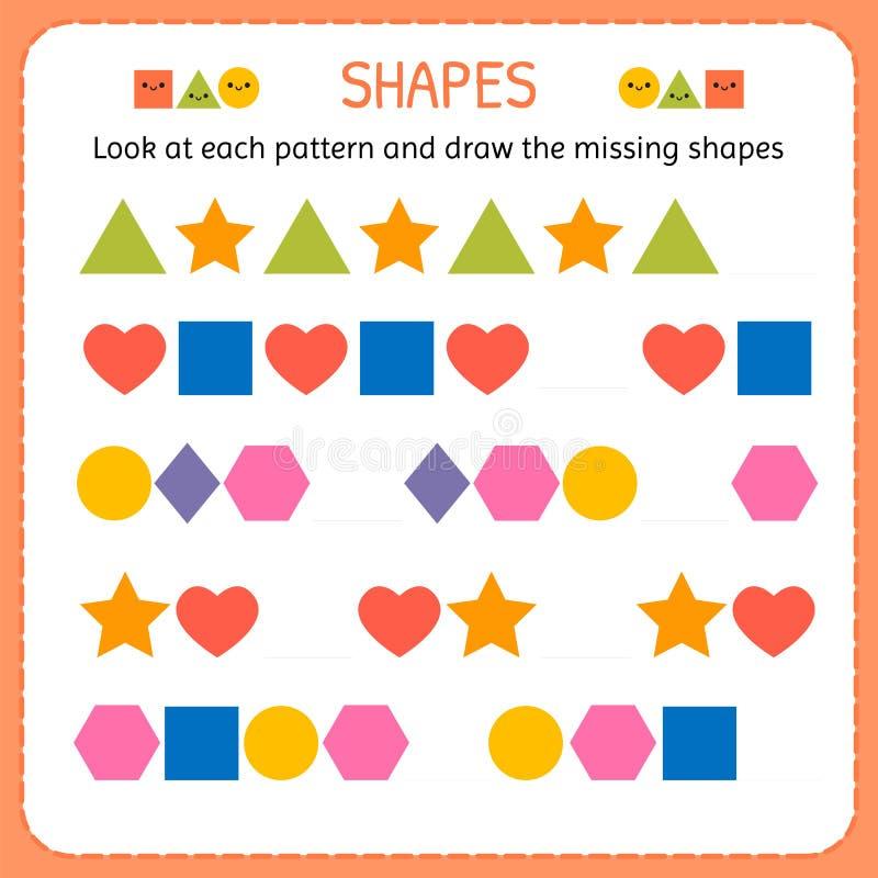 Bekijk elk patroon en trek de ontbrekende vormen Leer vormen en geometrische cijfers Kleuterschool of kleuterschoolaantekenvel vector illustratie