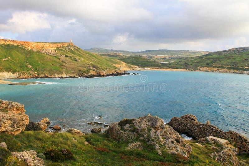 Bekijk Golden Bay op Malta royalty-vrije stock afbeeldingen