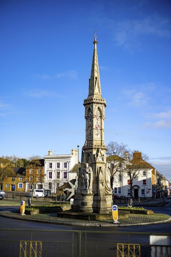 Bekijk het Banbury Cross in het stadscentrum royalty-vrije stock afbeeldingen