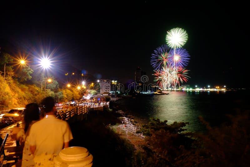 Bekijk het vuurwerk stock fotografie