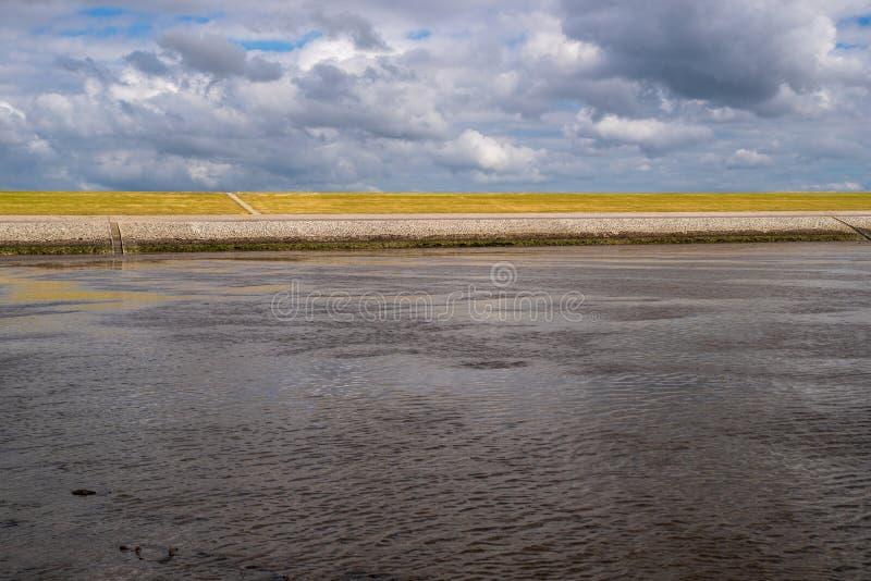 Bekijk van de Waddenzee naar de geelgroene dijk aan de Noordzeekust Friesland, dramatische wolken in de blauwe lucht stock afbeeldingen