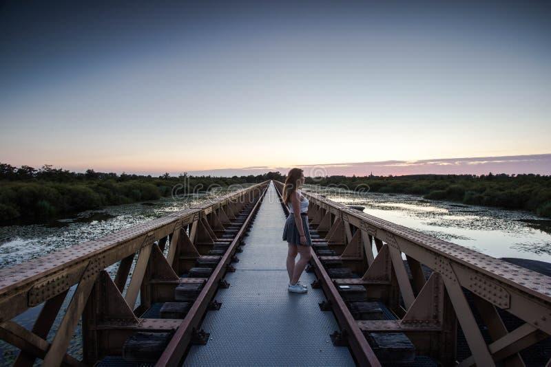 Bekijken de vrouwen die op een stedelijke brug lopen die de zonsondergang bekijken bij het meer stock afbeelding
