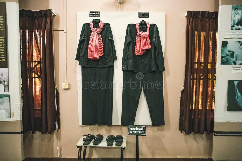 Bekl?da begick likformign av Khmer Rouge folkmord i Cambodja 70 ?r av det 20th ?rhundradet fotografering för bildbyråer